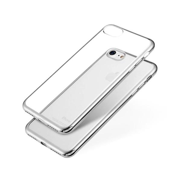 Jc carcasa transparente con borde plata apple iphone 7/8