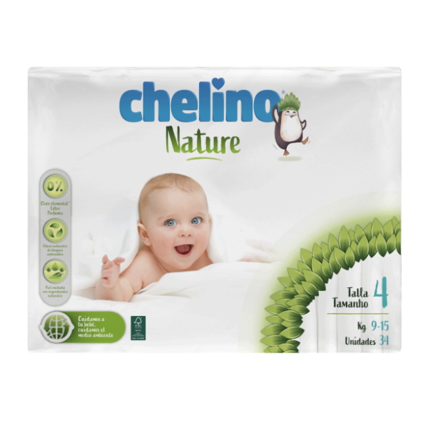 Chelino Nature Pañales T-4 9-15kg 34uds