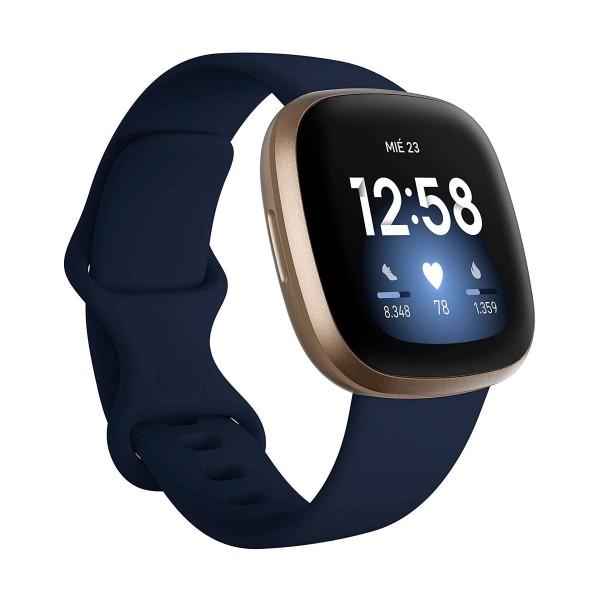 Fitbit versa 3 azul/dorado smartwatch asistentes google y alexa gps zona activa frecuencia sueño
